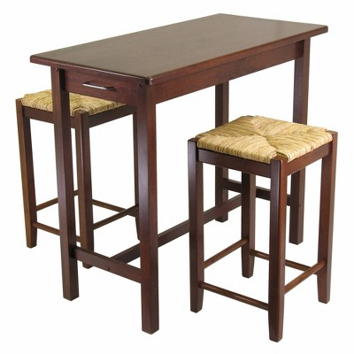 3pc Sally Dining Set with 2 Rush Seat Stools Antique Walnut - Winsome