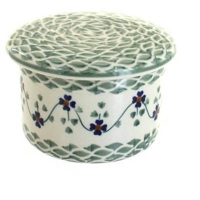 Blue Rose Polish Pottery Sage Floral French Butter Dish