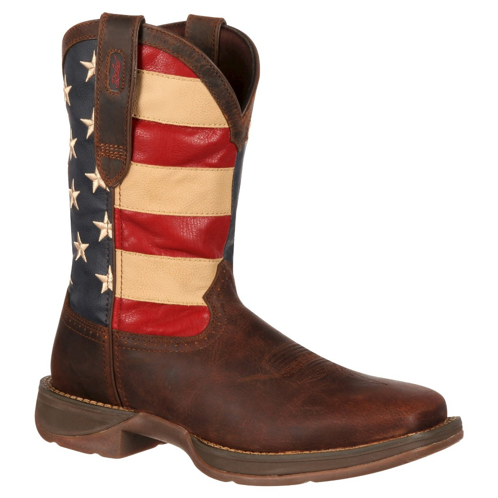 Men's Durango Wide Width Union Flag Western Boots - Brown 12W, Size: 12 Wide