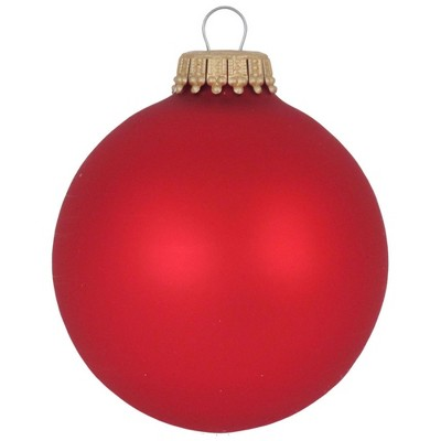 "Christmas by Krebs 8ct Flame Red Matte Glass Christmas Ball Ornaments 2.5"" (67mm)"