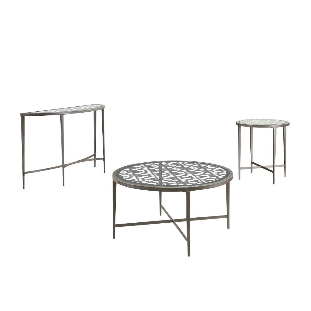 Coupons 3pc Harding Coffee Table Set Silver - miBasics