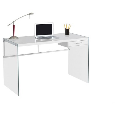Tempered Glass Computer Desk - Glossy White - EveryRoom