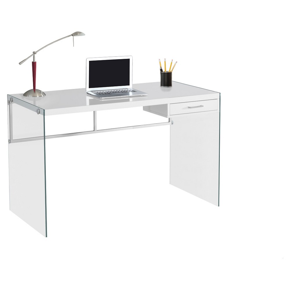 This sleek and contemporary glossy white work desk is the perfect combination of function, durability and design in a modern form. With clean lines, thick panel construction and tempered glass legs, this desk will add pizzazz to any home office. The desk top provides the ideal surface space for a lamp, picture frames, laptop or tablets to meet your working needs along with a convenient storage drawer for your office supplies.