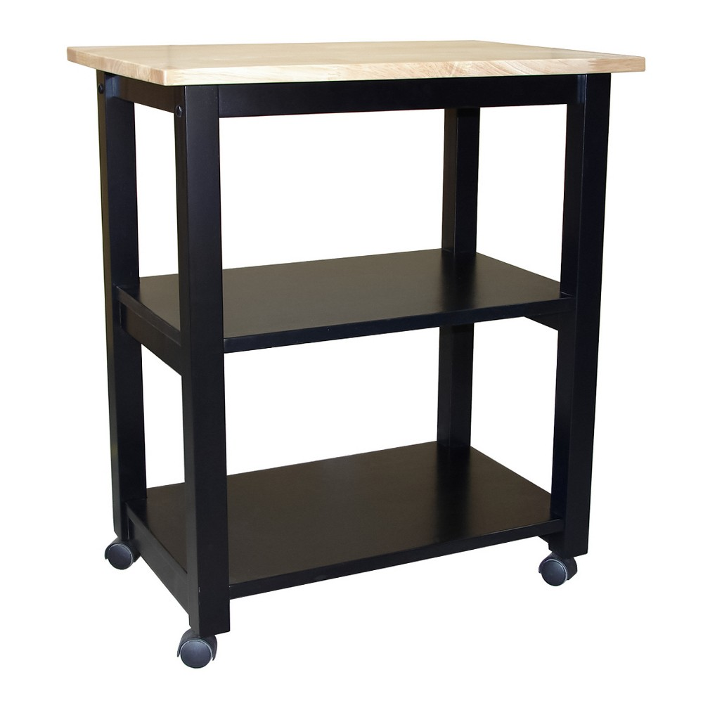 Addison Microwave Cart - Black/Natural - International Concepts Ideal for cramped kitchens that are lacking in counter space and storage, the Addison Microwave Cart from International Concepts solves all your problems. The top can be used as a cutting board, or storage for an appliance such as a microwave or toaster. The fixed bottom shelves allow you to store dry goods, mixing bowls and more. This portable kitchen cart with storage is everything you need, and more. Color: Black.