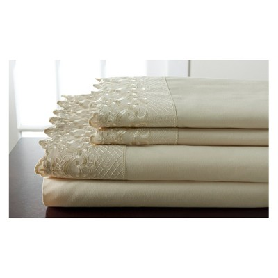 Hotel Lace Microfiber Sheet Set (Queen)Taupe - Elite Home Products