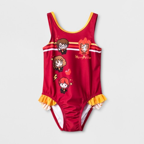 Toddler Girls' Harry Potter One Piece Swimsuit - Red - image 1 of 2