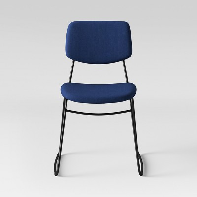 Superbe Upholstered Metal Stacking Chair Navy Blue   Room Essentials™