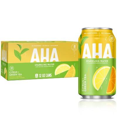 AHA Citrus + Green Tea Sparkling Water - 8pk/12 fl oz Cans