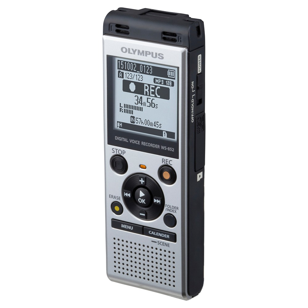 Olympus WS-852 Digital Voice Recorder with Built-in Speakers - Medium Silver For easy, high-quality voice recording go with the WS-852 Digital Voice Recorder with Built-in Speakers. With two-directional stereo microphones in a 90-degree layout, you'll record precisely and effortlessly. Color: Medium Silver.