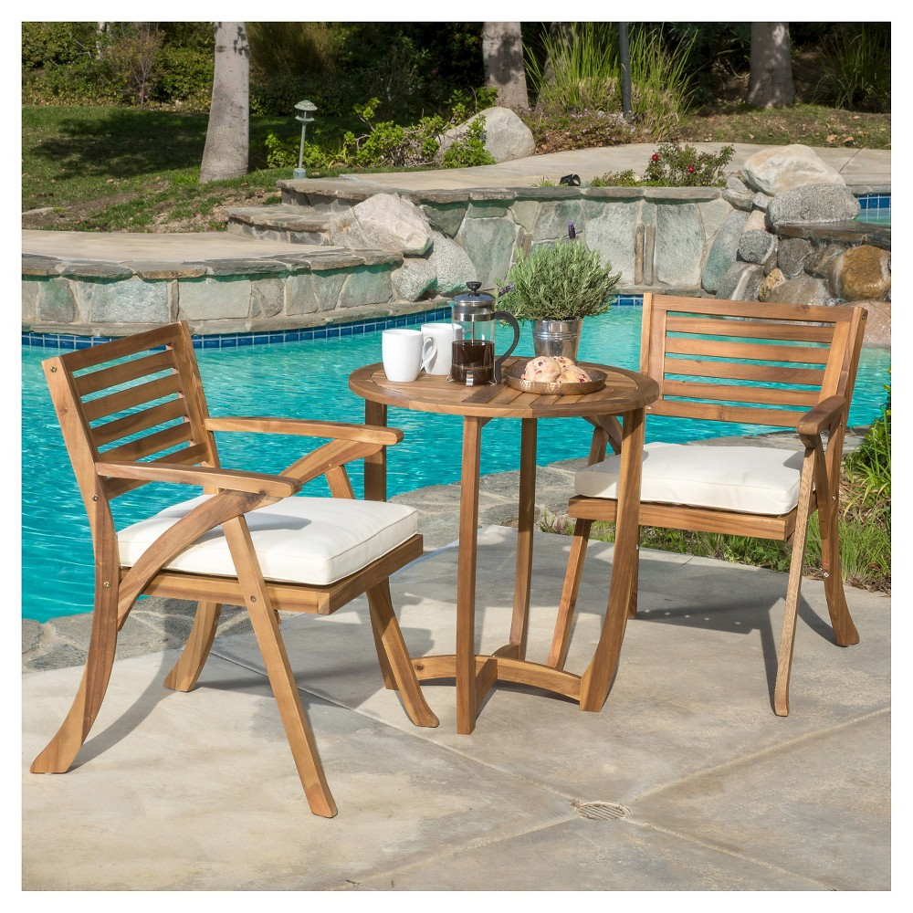 Coronado 3pc Acacia Wood Patio Bistro Set with Cushions - Teak (Brown) Finish - Christopher Knight Home