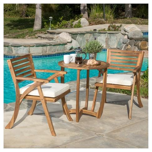 Coronado 3pc Acacia Wood Patio Bistro Set With Cushions Teak Finish Christopher Knight Home Target
