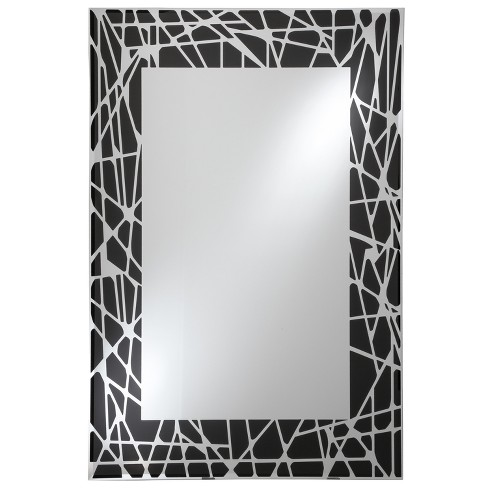 "Rectangular Beveled Frameless Wall Mirror with Silk Screened Black Pattern Embedded Border Black 16"" X 24"" - Breeze Point - image 1 of 2"