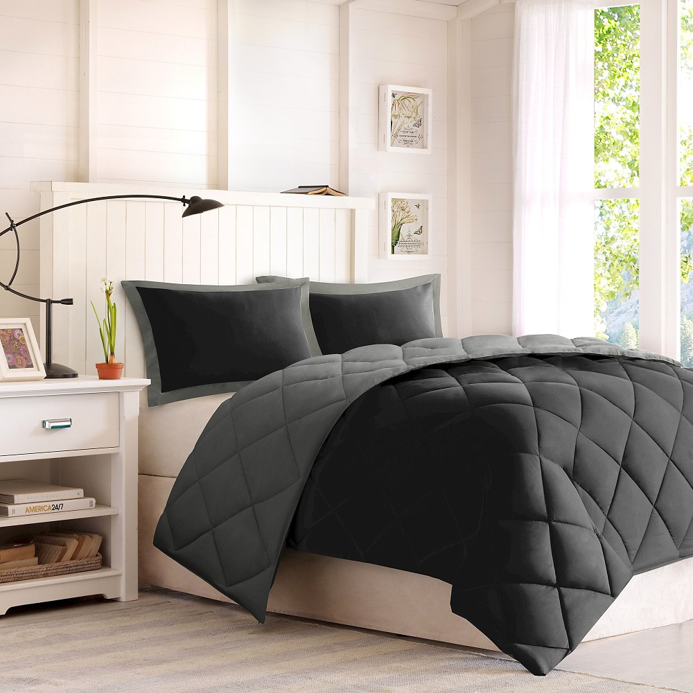 3pc Full Queen Windsor Reversible Down Alternative Comforter Set With 3m Stain Resistance Finishing Black Gray