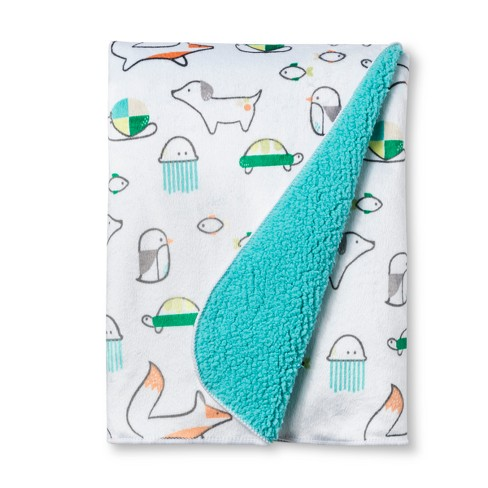 Plush Velboa Baby Blanket Animals - Cloud Island™ Turquoise - image 1 of 2