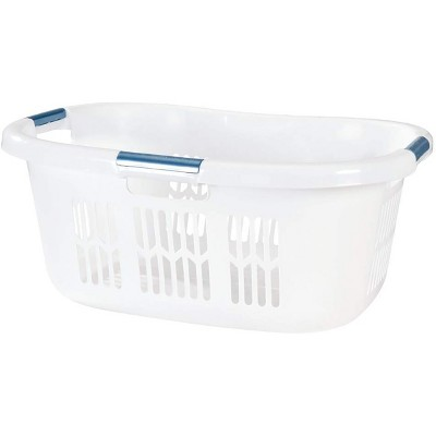 Rubbermaid 2.1-Bushel Small Hip-Hugger Portable Plastic Laundry Basket with Grab-Through Handles, White