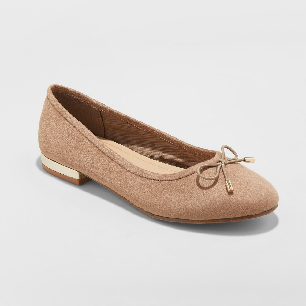 Women's Annalyn Microsuede Bow Ballet Flats - A New Day Taupe (Brown) 5.5