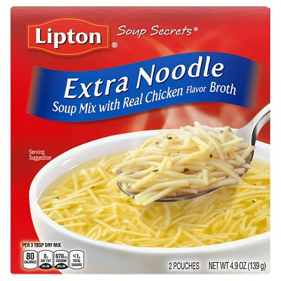 Lipton Soup Secrets Soup Mix with Chicken Broth Extra Noodle 4.9oz