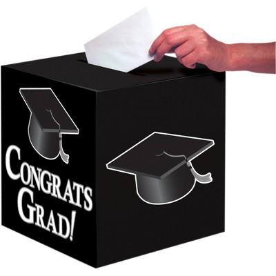 Graduation Black Congrats Card Box