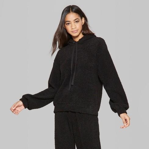 09ec6fec Women's Oversized Fuzzy Hoodie - Wild Fable™ Black
