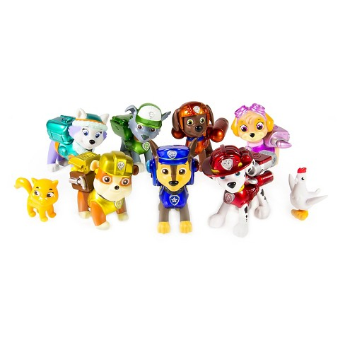 65bb2fa0d86 Paw Patrol, Limited Edition Action Pack Pups Metallic Series, 9 Figure  Target Exclusive : Target