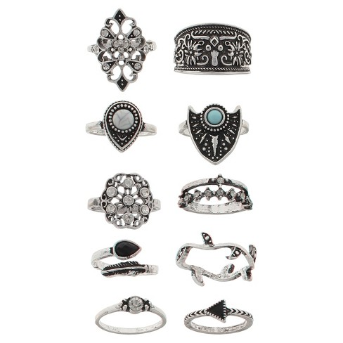 Women's Ring Ten Pack Geo Shape with Stones - Silver - image 1 of 1