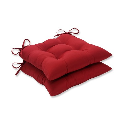 2-Piece Outdoor Tufted Seat Pad/Dining/Bistro Cushion Set - Red