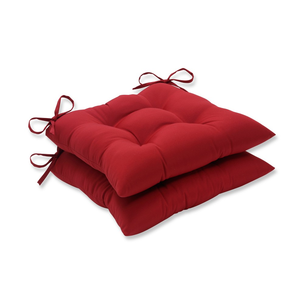 Image of 2-Piece Outdoor Tufted Seat Pad/Dining/Bistro Cushion Set - Red