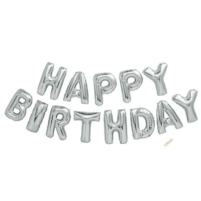 """Happy Birthday"" Foil Balloon Silver - Spritz™"