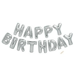 """Happy Birthday"" Foil Balloon Silver - Spritz™"
