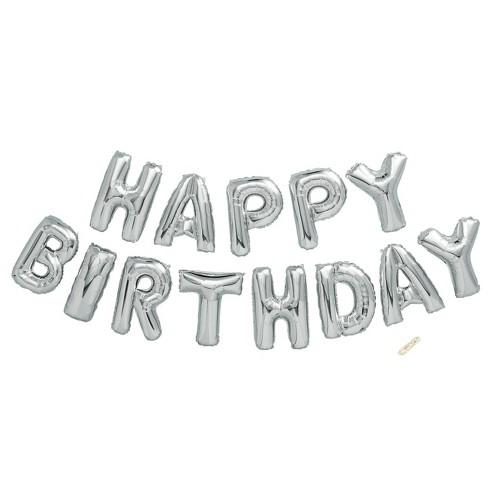 Happy Birthday Foil Balloon Silver