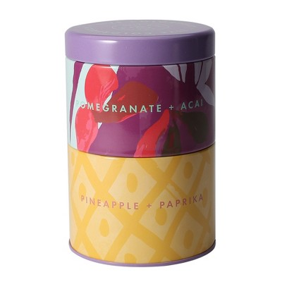 11.6oz Stacked Tin Container Candle Pomegranate Acai / Pineapple Paprika