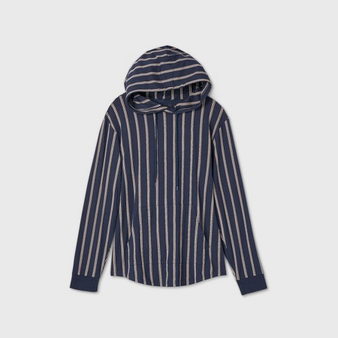 Men's Striped Long Sleeve Hooded T-Shirt - Original Use™ Navy - image 1 of 1