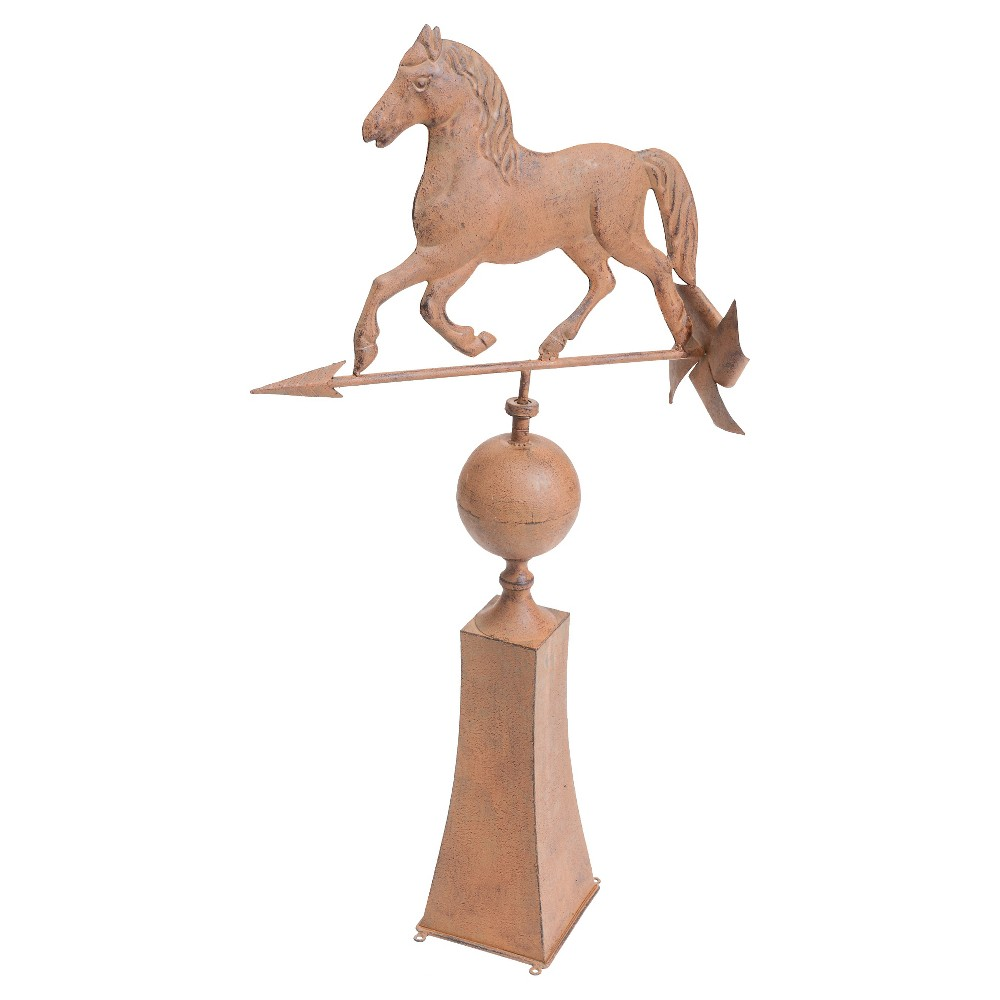 37 Vintage Horse Weather Vane Made Of Metal With Rust Finish - Brown - Sunjoy