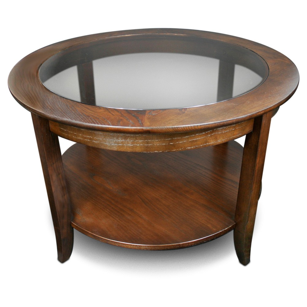 Solid Wood Round Glass Top Coffee Table - Chocolate (Brown) Oak Finish - Leick Home
