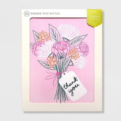 Green Inspired 24ct Sketched Blooms Thank You Cards
