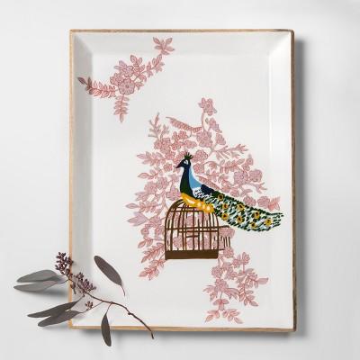 Mango Wood Painted Peacock Tray 12  x 16  White/Pink - Opalhouse™