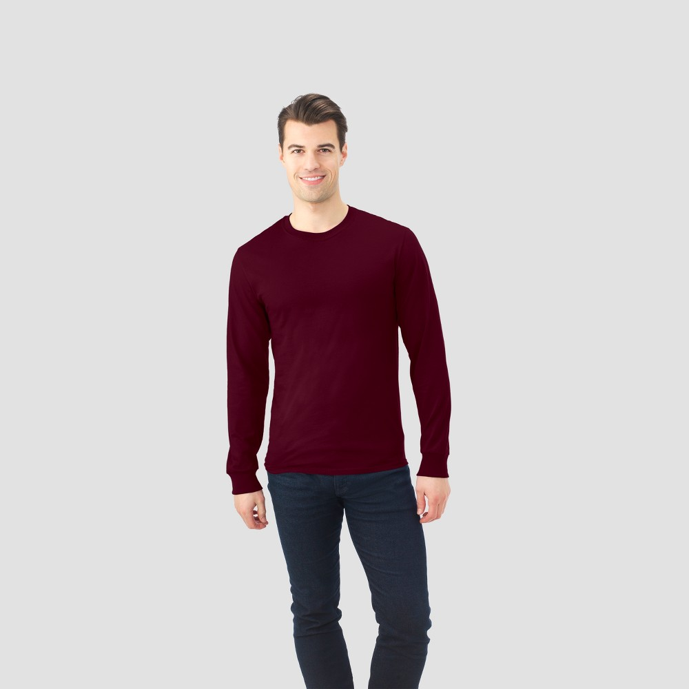 Fruit Of The Loom Men's Long Sleeve T-Shirt - Athletic Maroon (Red) L