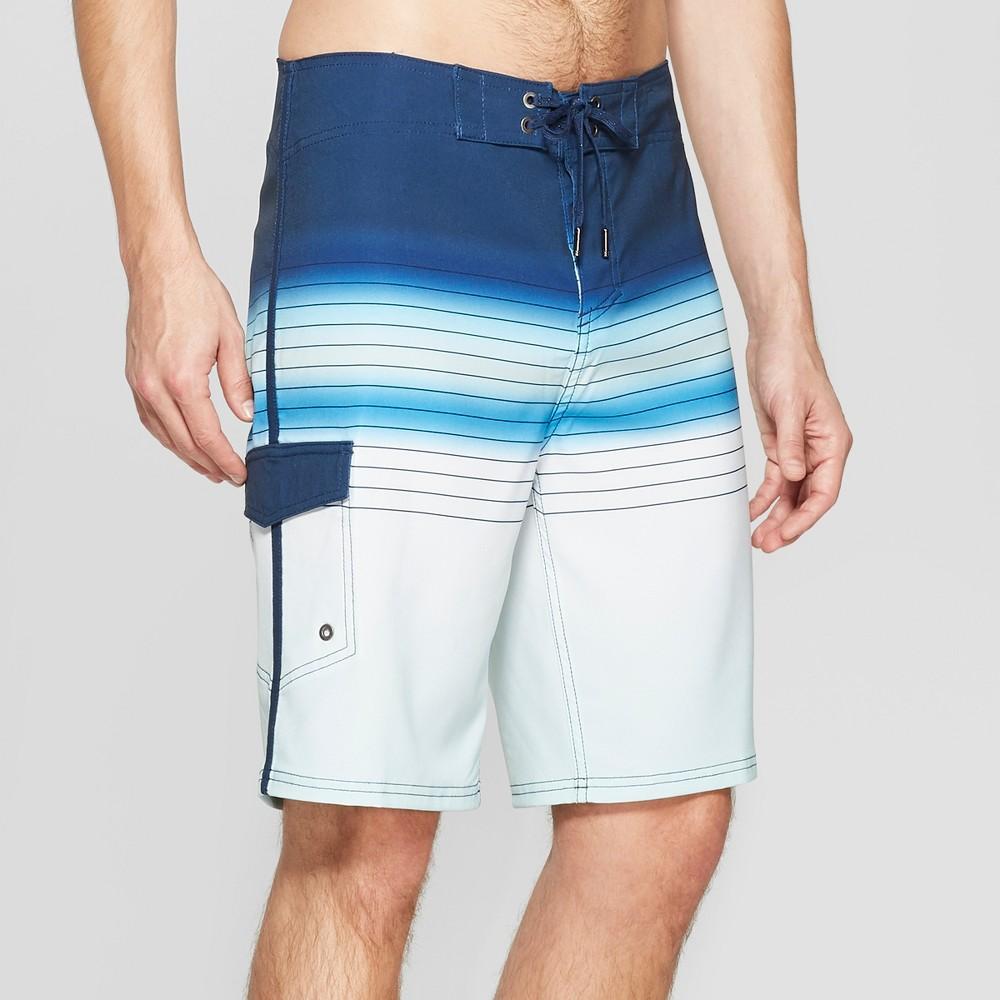 Men's 10 Striped Sandy Board Shorts - Goodfellow & Co Blue 30