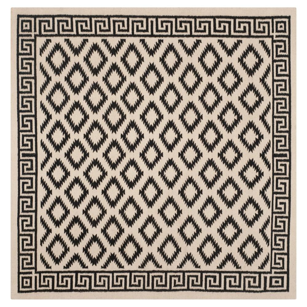 Coupons Dhurries Rug - Ivory Black - (6x6 Square) - Safavieh