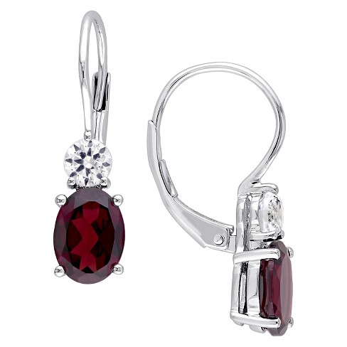 3 2/5 CT. T.W. Oval Garnet and .64 CT. T.W. Created White Sapphire Leverback Earrings in Sterling Silver - image 1 of 1