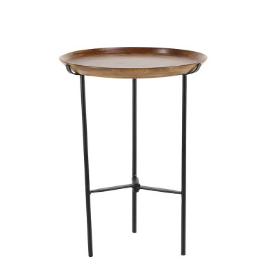 Industrial Iron and Mango Wood Accent Table Brown - Olivia & May