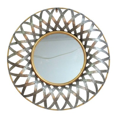 "14"" Ives Round Wall Mirror Antique Silver Gold - A&B Home"