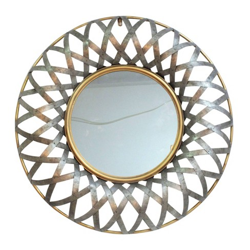 Ives Round Wall Mirror Antique Silver - A&B Home - image 1 of 1