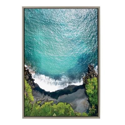 """23"""" x 33"""" Sylvie Maui Black Sand Beach Framed Canvas Wall Art by Rachel Dowd Gray - Kate and Laurel"""