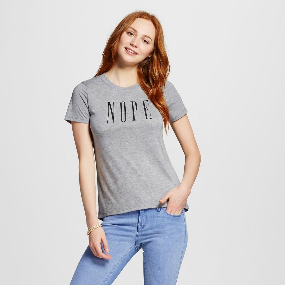 Women's Nope Graphic T-Shirt Charcoal Gray XS - Modern Lux (Juniors')