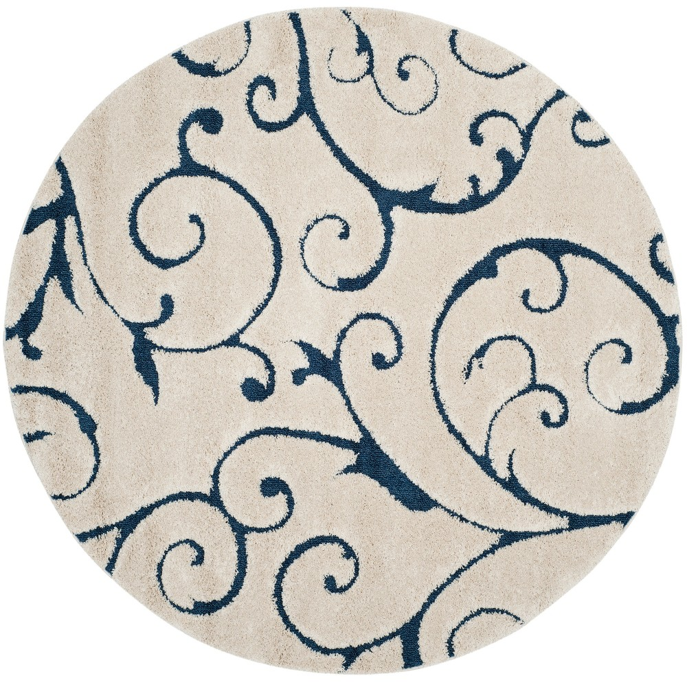 9' Swirl Loomed Round Area Rug Cream (Ivory) - Safavieh