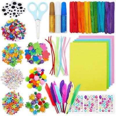 Bright Creations  1146 Pcs Set Arts and Crafts Supplies Kit for Kids, Pipe Cleaners, Feathers, Pom Poms, Googly Eyes
