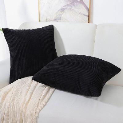 "2 Pcs 18"" x 18"" Polyester Striped Decorative Pillow Cover Black - PiccoCasa"