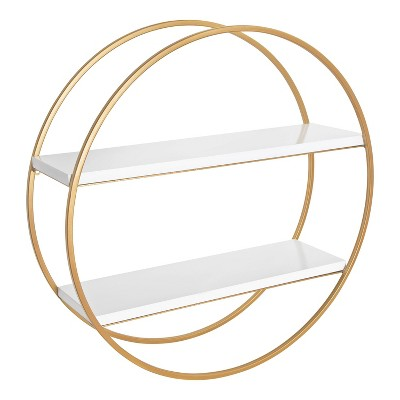 """24"""" Diameter Sequoia Wood and Metal Round Wall Shelf - Kate & Laurel All Things Decor"""