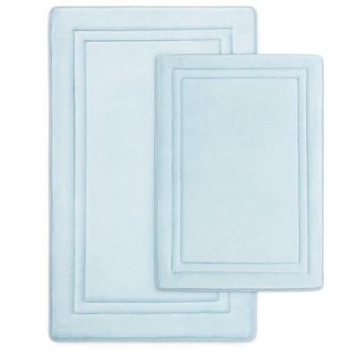 2pc Quick Drying Memory Foam Bath Mat Light Blue - Microdry